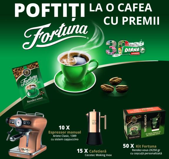 POFTIȚI LA O CAFEA CU PREMII FORTUNA (DIANA SUPERMARKET)